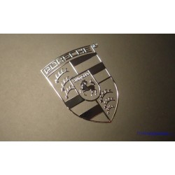 Porsche Label / Aufkleber / Sticker / Badge / Logo Silver 30mm x 22mm [151]