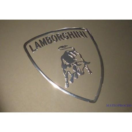 Lamborghini Label Aufkleber Sticker Badge Logo Silver 60mm X