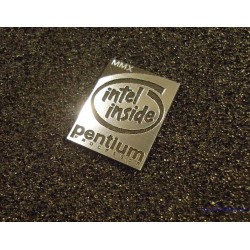 Pentium MMX Logo Emblem Badge brushed aluminum adhesive 28 x 21 mm [419]